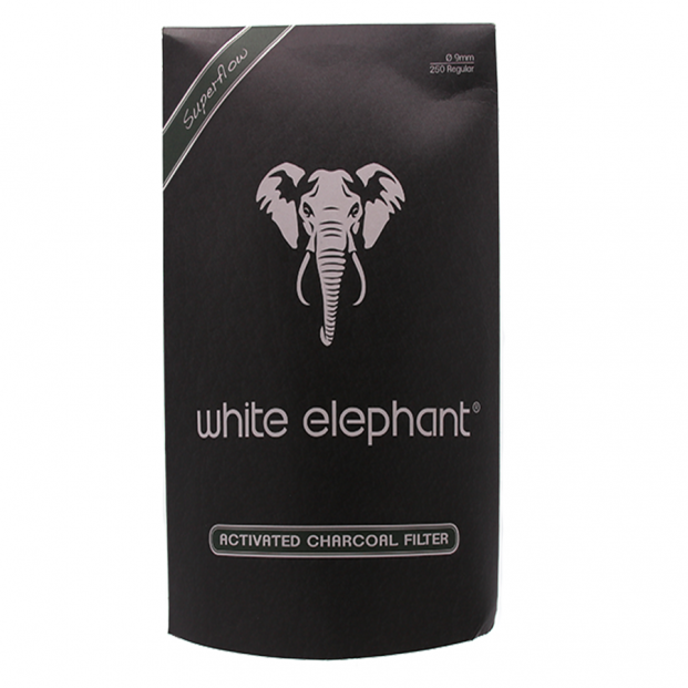 White Elephant 9mm Activated Charcoal Pijpfilters 250 stuks