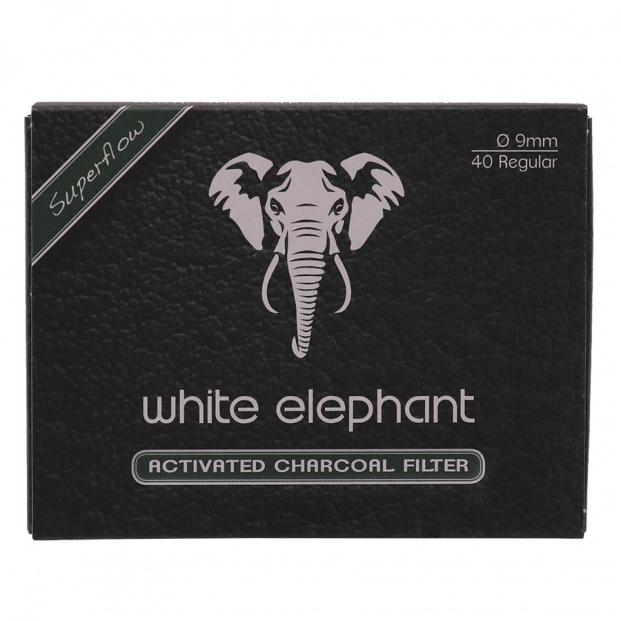 White Elephant  9mm Activated Charcoal Pijpfilters 40 stuks